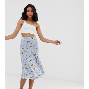 Monki prarie floral print midi skirt with side slit in blue