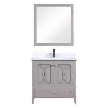 Legion Furniture Legion Furniture Single Vanity w/ Mirror Set, Warm Gr