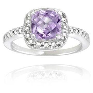 Glitzy Rocks Sterling Silver Square Cushion-cut Gemstone and Diamond Accent Ring (February - Purple - Purple/Yellow - 5.5 - Amethyst)