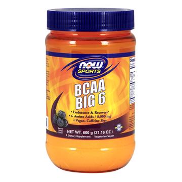 BCAA Big 6 Powder, Grape Now Foods 600 grams Powder