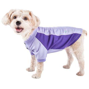 Pet Life Active Barko Pawlo Relax-Stretch Dog Polo Purple T-Shirt, X-Large