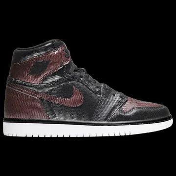 Jordan Womens Jordan AJ 1 High - Womens Basketball Shoes Black/Metallic Rose Gold/White Size 7.5