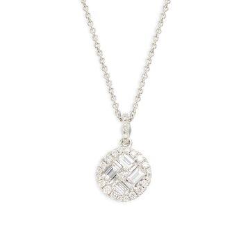 18K White Gold, Ruby & Diamond Pendant Necklace