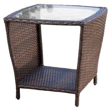 Weston Wicker with Glass Top Patio Side Table - Multi-Brown - Christopher Knight Home