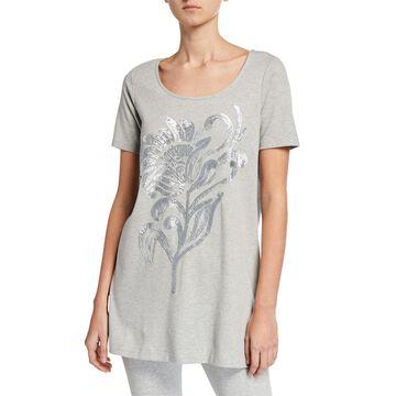 Sequin Flower Short-Sleeve Cotton Interlock Tunic