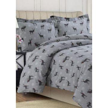 Tribeca Living 200 Gsm Printed Flannel Duvet Set - -