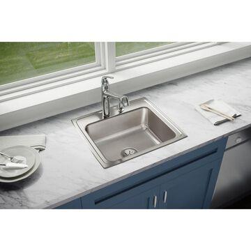 Elkay Lustertone Drop-In 22-in x 19.5-in Lustertone Single Bowl 3-Hole Kitchen Sink Stainless Steel   LR22193