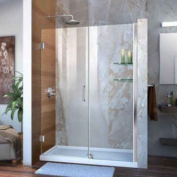 DreamLine Unidoor 72-in H x 49-in to 50-in W Frameless Hinged Chrome Shower Door (Clear Glass) | SHDR-20497210S-01