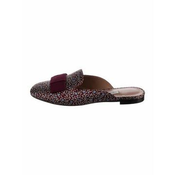 Leather Floral Print Mules w/ Tags Red