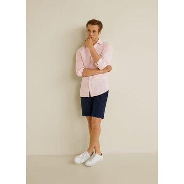 MANGO MAN - 100% linen slim fit shirt pink - XXS - Men