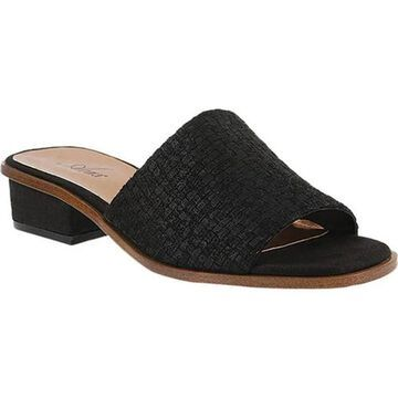 Azura Women's Elia Woven Slide Sandal Black Microfiber