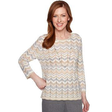 Petite Alfred Dunner Necklace & Embellished Zigzag Sweater