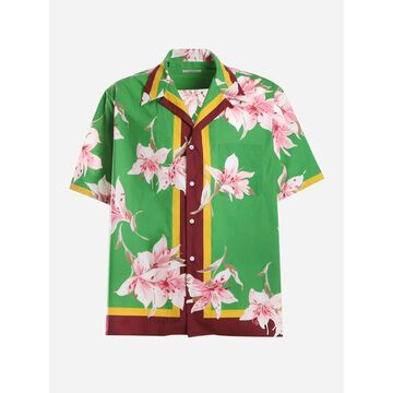 Valentino Cotton Bowling Shirt With Flying Flowers Print