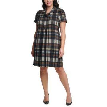 Jessica Howard Plus Size Plaid Cowlneck Dress