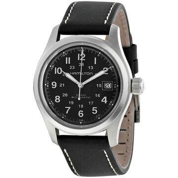 Hamilton Men's H70455863 'Khaki Field' Automatic Black Leather Watch