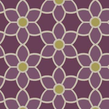 Beacon House Blossom Purple Geometric Floral Wallpaper