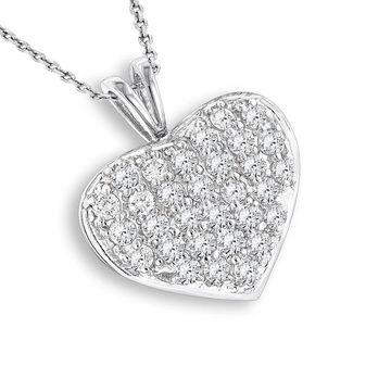 Luxurman 14k Gold 1ct TDW Diamond Heart Pendant