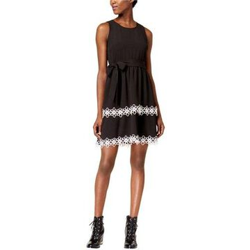 maison Jules Womens Tiered Fit & Flare Dress