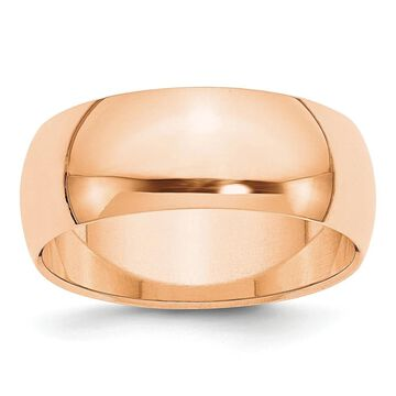 10K Rose Gold 8mm High Polished Half Round Band Size 10 by Versil