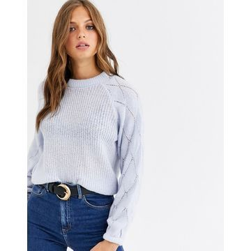Y.A.S fine knit sweater with volume diamond sleeve-Blue