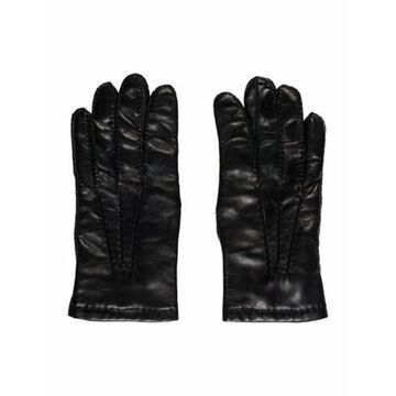 Black Lambskin Leather Winter Gloves Black