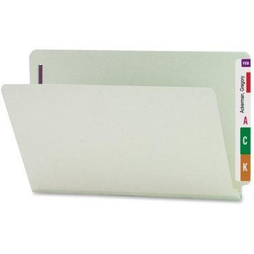 Smead, SMD37705, End Tab Pressboard Fastener Folders, 25 / Box, Gray,Green