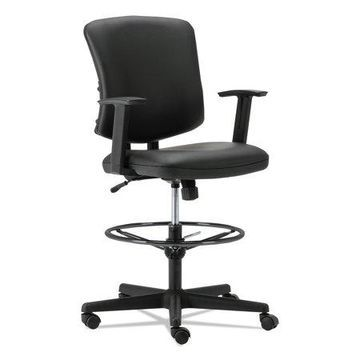 Alera Everyday Task Stool, Black, Leather