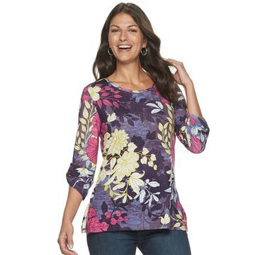 Women's Cathy Daniels Floral Roll-Tab Top