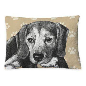 Laural Home Beagle Sketch Fleece Dog Bed