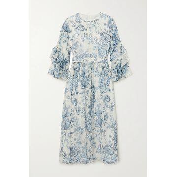 Erdem - Adriana Belted Ruffled Floral-print Silk-voile Midi Dress - Cream