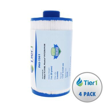 Tier1 Replacement for Vita Spa Duet 179192, Pleatco PVT25N, Filbur FC-0186 Antimicrobial Spa Filter Cartridge for Vita Spa Duet Systems 4 Pack