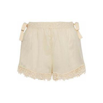 Redvalentino Lace-trimmed Cotton-gauze Shorts