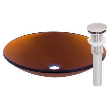 Novatto in Basso Glass Vessel Bathroom Sink Set, Brushed Nickel