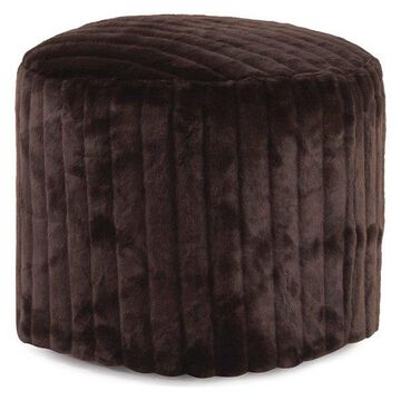 Howard Elliott Faux Mink Snow Tall Pouf Ottoman, Brown