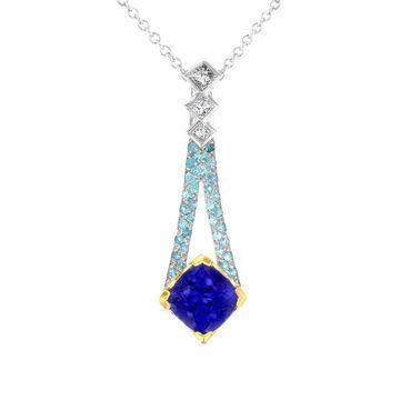La Vita Vital 18k Two-tone Tanzanite 2 4/5ct Paraiba Tourmaline 0.27ct and Diamond 0.32ct TDW Pendant/ Necklace