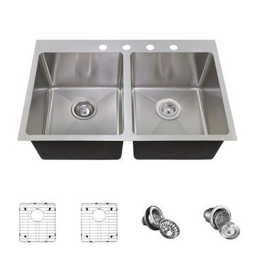 MR Direct T3120D Topmount Kitchen Sink, Two Grids, Standard and Basket Strainers