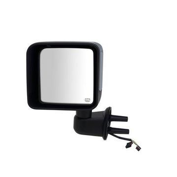 60220C - Fit System Driver Side Mirror for 15-17 Jeep Wrangler, 2018 Wrangler JK, textured black w/ Chrome cover, foldaway, Heated Power