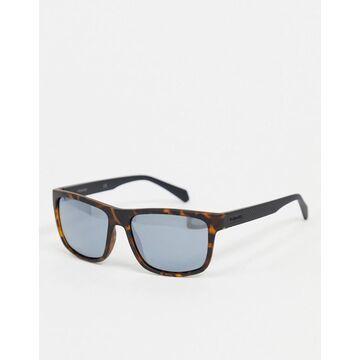 Polariod square sunglasses in tortoise shell-Brown