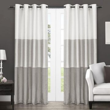 Exclusive Home 2-pack Chateau Striped Faux Silk Window Curtain Set