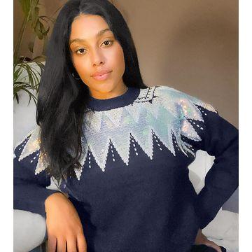 Junarose sequin sweater in black