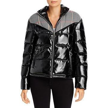 Glamorous Plaid-Panel Faux Patent Leather Puffer Jacket