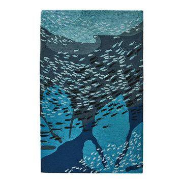 Liora Manne Ravella School Of Fish Indoor Outdoor Rug, Blue, 7.5X9.5 Ft