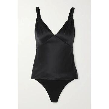 RtA - Livia Silk-satin And Stretch-tulle Bodysuit - Black