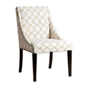 Abbyson Living Lattice Swoop Dining Chair in Gold