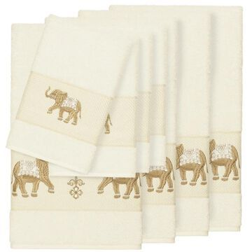 Authentic Hotel and Spa Turkish Cotton Elephants Embroidered Cream 8-piece Towel Set