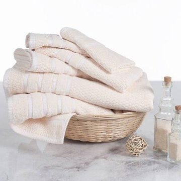Combed Cotton Towel Set- Rice Weave 100% Combed Cotton 6 Piece Set With 2 Bath Towels, 2 Hand Towels and 2 Washcloths by Somerset Home- Ivory