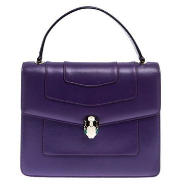 Bvlgari Purple Leather Serpenti Forever Flap Bag