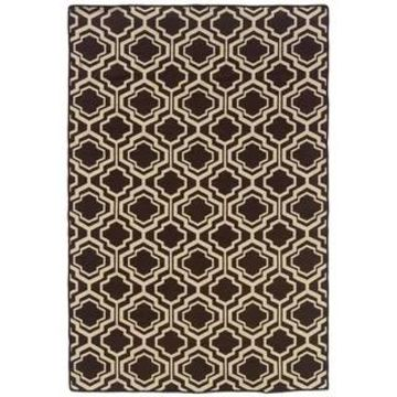 Linon Foundation Collection Brown Monocco Reversible Rug (5' x 8' - Brown)