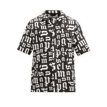 Palm Angels - Logo-print Cotton Short-sleeved Shirt - Mens - Black