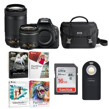 Nikon D5600 DSLR Camera with 18-55 and 70-300 Lens and Nikon Case Bundle